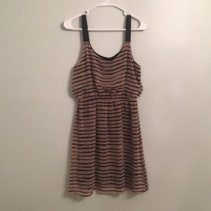 Brown with black striped dress